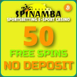 50 Вращений без депозита в казино Spinamba есть на фото.